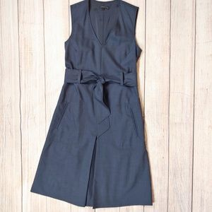 Theory Navy Belted A-line Pleated Sleeveless Dress